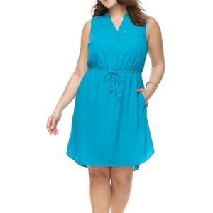Apt. 9 Drawstring Shirtdress Sleeveless L Blue NEW